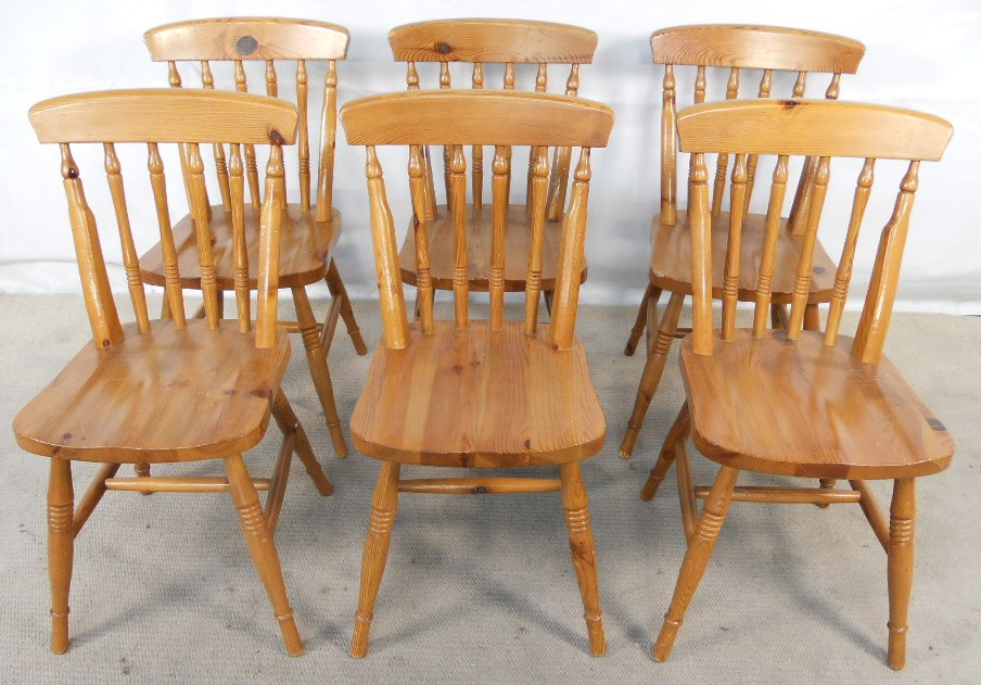 Set Of Six Antique Windsor Style Pine Kitchen Dining